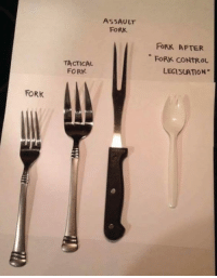 ASSAULT  FORK  FORK AFTER  FORK CONTROL  LEGISLATION  TACTICAL  FORK  FORK Hilarious, and exactly what Democrats would do if they had their way!