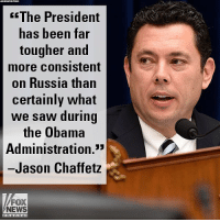 "Friends, Memes, and News: ASSDCIATED  PRESS  fThe President  has been far  tougher and  more Consistent  on Russia than  certainly what  we saw during  the Obama  Administration.3  Jason Chaffetz  FOX  NEWS  channel On ""Fox & Friends,"" former Congressman Jason Chaffetz discussed the U.S. hitting Russia with new sanctions."