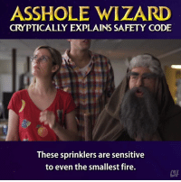 C'mon, Wizard.: ASSHOLE WIZARD  CRYPTICALLY EXPLAINS SAFETY CODE  These sprinklers are sensitive  to even the smallest fire. C'mon, Wizard.