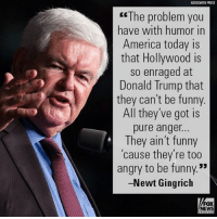 "America, Donald Trump, and Funny: ASSOCATED PRESS  The problem you  have with humor in  America today is  that Hollywood is  so enraged at  Donald Trump that  they can't be funny  All they've got is  pure anger.  They ain't funny  'cause they're too  angry to be funny.""  -Newt Gingrich  FOX  NEWS On ""Fox News Sunday,"" Newt Gingrich responded to the amped-up attacks on President Donald J. Trump by late-night comedians."