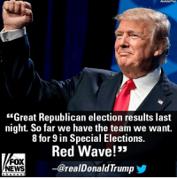 "Memes, News, and Fox News: Associatad PreBss  ""Great Republican election results last  night So far we have the team we want.  8 for 9 in Special Elections.  Red Wave!'  ー@realDonaldTrump  FOX  NEWS  ehanne l Earlier today, President @realDonaldTrump celebrated last night's election results and invoked a ""Red Wave!"""