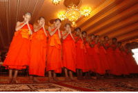 Memes, Soccer, and Thailand: ASSOCIATE Members of Wild Boars soccer team pray during a ceremony marking the completion of their serving as novice Buddhist monks, following their dramatic rescue from a cave in Mae Sai district, Chiang Rai province, northern Thailand, Saturday, Aug. 4, 2018. The members of the boys' soccer team rescued from almost three weeks trapped in a cave in northern Thailand completed their time as novice Buddhist monks, undertaken to give thanks for their survival and to show their gratitude to all those who helped them.