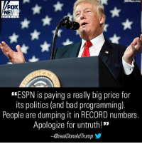 """Bad, Espn, and Memes: ASSOCIATED PRESS  FOX  NEWS  ch an ne I  """"ESPN is paying a really big price for  its politics (and bad programming).  People are dumping it in RECORD numbers  Apologize for untruth!""""  ー@real DonaldTrump Do you agree with President Donald J. Trump?"""