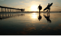 Surfers leave the water next to Scripps Pier Thursday, Aug. 2, 2018, in San Diego. The Scripps Institution of Oceanography says it has recorded the highest sea-surface temperature in San Diego in its 102 years of taking measure.: ASSOCIATED PRESS Surfers leave the water next to Scripps Pier Thursday, Aug. 2, 2018, in San Diego. The Scripps Institution of Oceanography says it has recorded the highest sea-surface temperature in San Diego in its 102 years of taking measure.