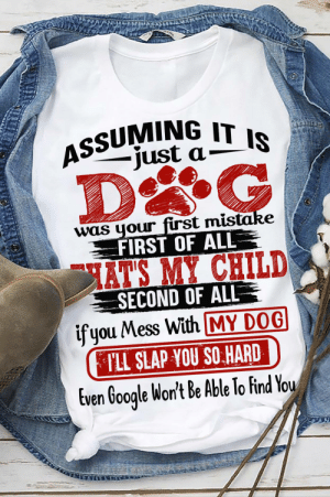 For all the crazy dog moms: ASSUMING IT IS  -just a-  was your first mistake  FIRST OF ALL  HAT'S MY CHILD  SECOND OF ALLR  ifyou Mess With MY DOG  PLL SLAP YOU SO HARD  Even Google Won't Be Able To Find You For all the crazy dog moms