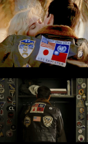 China, Cruise, and Pictures: AST CRUISE 63-4  USS GALVE STON  CL  E  a In Top Gun (1986), Maverick's jacket has Japanese and Taiwanese flag patches. In the upcoming sequel, these flags have been replaced. (China's Tencent Pictures is a producer of the sequel.)