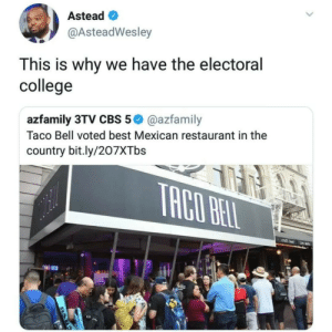 Cant trust y'all. by gotmilo11 MORE MEMES: Astead  @AsteadWesley  This is why we have the electoral  college  azfamily 3TV CBS 5@azfamily  Taco Bell voted best Mexican restaurant in the  country bit.ly/207XTbs Cant trust y'all. by gotmilo11 MORE MEMES
