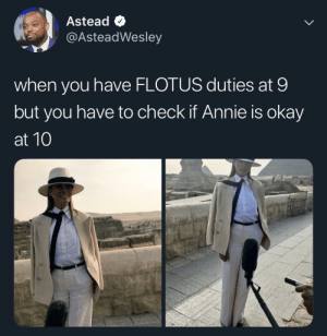 Dank, Memes, and Target: Astead  @AsteadWesley  when you have FLOTUS duties at 9  but you have to check if Annie is okay  at 10 Annie are you okay, are you okay Annie??? by rennbrig MORE MEMES