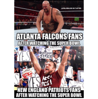 Atlanta Falcons, Memes, and 🤖: ASTLULREALzuS ON TWITTER  ATLANTA FALCONS FANS  AFTER WATCHING THE SUPER BOWL  RATISTA  yES!  NEWENGLANDPATRIOTSFANS  AFTERWATCHING THE SUPER BOWL That game was unfuckinbelievable superbowl patriots tombrady GOAT wwe wwememes raw share love prowrestling wrestling follow memes lol haha share like stillrealradio stillrealtous burn smackdownlive nxt faf wwf njpw luchaunderground tna roh wcw dankmemes