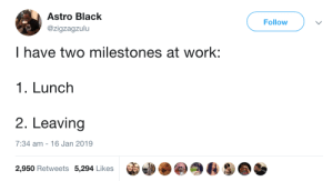 Dank, Memes, and Target: Astro Black  @zigzagzulu  Follow  I have two milestones at work:  1. Lunch  2. Leaving  7:34 am - 16 Jan 2019  2,950 Retweets 5,294 Likes The last one is my favorite by commonvanilla MORE MEMES