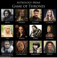 Game of Thrones, Meme, and Memes: ASTROLOGY MEME  GAME OF THRONES  ARIES  TAURUS  GEMINI  CANCER  VIRGO  LIBRA  SCORPIO  LEO  SAGITTARIUS CAPRICORN  AQUARIUS  PISCES  Created by: Gwendolyn Wilkins 2012  http:/kiuslady deviantart com/