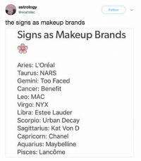 is this accurate though???: astrology  @woahdiac  Follow  the signs as makeup brands  Signs as Makeup Brands  Aries: L'Oréal  Taurus: NARS  Gemini: Too Faced  Cancer: Benefit  Leo: MAC  Virgo: NYX  Libra: Estee Lauder  Scorpio: Urban Decay  Sagittarius: Kat Von D  Capricorn: Chanel  Aquarius: Maybelline  Pisces: Lancôme is this accurate though???