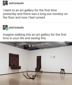 M O D E R N A R T: astronaute  i went to an art gallery for the first time  yesterday and there was a long ass monkey on  the floor and now i feel cursed  astronaute  imagine walking into an art gallery for the first  time in your life and seeing this M O D E R N A R T