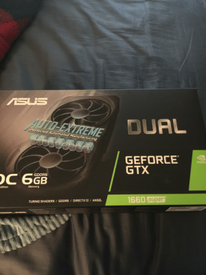 I just got a 1660 super, can't wait to join you guys!: ASUS  AUTO-EXTREME  DUAL  Perfected Automated Manufacturing  GEFORCE  GTX  NVIDIA  GDDR6  OC 66B  Memory  dition  1660 super  TURING SHADERS/ GDDR6 / DIRECTX 12 / ANSEL I just got a 1660 super, can't wait to join you guys!