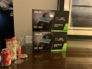 Surprised my 18yo and 20yo sons with unexpected video card upgrade. There was much rejoicing 😝: ASUS  AUTO-EXTREME  OUAL  Perfected Automated Manufacturing  GEFORCE  GTX  NVIDIA  GDDRS  ОС бав  Meniory  EAition  1660 Super  TURING SHADERS / GOORS / DIRECTX 2/ ASEL  ASUS  DUAL  AUTO-EXTREME  Perfected Automaled Manulacturing  GEFORCE  GTX  nVIDIA  GODRS  ОС 66в  Memory  kation  1660 Super  TURHIG SHADERS/GOORD/ DIRECTX 12/AMSEL  endCAN IRUT  OC eEB  CELOKCE  JAUD Surprised my 18yo and 20yo sons with unexpected video card upgrade. There was much rejoicing 😝