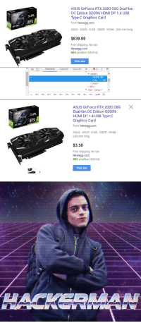 "Free, Asus, and Usb: ASUS GeForce RTX 2080 08G Dual-fan  OC Edition GDDR6 HDMI DP 1.4 USB  Type-C Graphics Card  from Newegg.com  DURL  ASUS ASUS 8 GB GDDR HDMI 268 mm long  $839.99  Free shipping. No tax  Newegg.com  88% positive (65,914)  Visit site  Elements Console Sources3  X  ▼ <span  <b>$3.50  </b> $e  K/span>  </div>  <div class-""-  .div div div div div div div div div div spanb  ASUS GeForce RTX 208008G  Dual-fan OC Edition GDDR6  HDMI DP 1.4 USB Type-c  Graphics Card  from Newegg.com  DUAL  ASUS ASUS 8  268 mm long  GB GDDR HDMI  $3.50  Free shipping. No tax  Newegg.com  88% positive (65,914)  Visit site 1337 H4x"