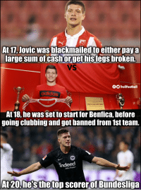 Luka Jovic 👏 https://t.co/Utbwj52CGJ: At 17, Jovic was blackmailed to either pay a  large sum of cash orget hislegs broken.  VS  fTrollFootball  adidas  At 18, he was set to start for Benfica, before  going clubbing and got banned from 1st team.  indeed  Jobs findern  At 20,he's the top scorerof Bundesliga Luka Jovic 👏 https://t.co/Utbwj52CGJ