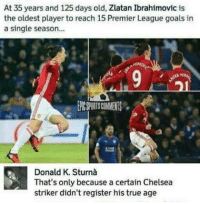 Memes, Zlatan Ibrahimovic, and 🤖: At 35 years and 125 days old, Zlatan Ibrahimovic is  the oldest player to reach 15 Premier League goals in  a single season...  That's only because a certain Chelsea  striker didn't register his true age
