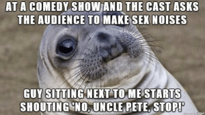 When the audience is funnier than the comedian: AT A COMEDY SHOW AND THE CAST ASKS  THE AUDIENCE TO MAKE SEX NOISES  GUY sITTING NEXT TOME STARTS  SHOUTING NO. UNCLE PETE, STOP! When the audience is funnier than the comedian