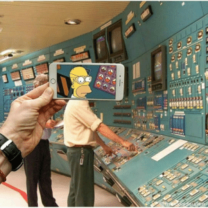 At a plant, then suddenly Homer.: At a plant, then suddenly Homer.