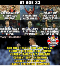 Football, Memes, and Soccer: AT AGE 3:3  ZIDANE WAS  PLAYING HIS  - LASTSEASON  MARADONA WAS  AT NEWELL'SVAN BASTEN  I HAD RETIRED  OLDBOYS-  BECKHAM WAS A INIESTA CAN'T RONALDINH0  BENCH WARMER PLAY WHOLE WAS AT THE END  AT PSG  VIA @THUG.SOCCER  90'MINSKOF HIS CAREER  WE TROLL  FOOTBALL  AND THEN THERESGUY WHO  THIS  EUROPEİSLEADING/GOALSCORER  CURRENT BALLON D'OR HOLDER  CURRENT EURO CHAMPION  CURRENT UCL CHAMPION  LEAGUE DEFENDING CHAMPION CristianoRonaldo 🙌🏻🔥