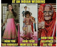 indian wedding: AT AN INDIAN WEDDING  SCOOP WHOOP  HOW YOUR  HOW YOU  HOW YOUR  RELATIVES  SEE YOURSELF MOM SEES YOU  SEE YOU