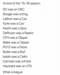 Crazy😳 nba nbamemes (via ‪Wittnessed‬-Twitter): At end of the '15-16 season:  KD was on OKC  Boogie was a King  LeBron was a Cav  Kvrie was a Cav  Kawhi was a Spur  DeRozan was a Raptor  CP3 was a Clipper  Blake was a Clipper  PG13 was a Pacer  Butler was a Bul  Isaiah was a Celtic  Carmelo was a Knick  Hayward was on UTA  What a league Crazy😳 nba nbamemes (via ‪Wittnessed‬-Twitter)