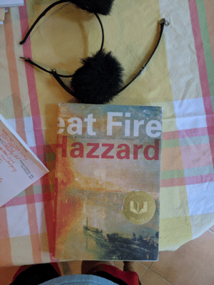 """Fire, Book, and Orange: at Fire  lazzard  The Tuansit  NO  VEL  U  THO  A  TH  BY  E  BOOK  NNER  AWARD  Chatnam & Orange Counties  bond -t3 t DNCE hisory  LO-HHS  a.org eall ldd Chambers (919) 644-4660  atem line  teachr pay  Fax (919) 644- 4647 eat Fire Hazzard (book name was """"The Great Fire"""" and the title wrapped around the whole book)"""