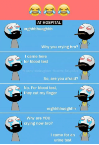 Bloods, Crying, and Memes: AT HOSPITAL  erghhhhueghhh  Why you crying bro?  I came here  for blood test  fb.com die laughter fb.com/BeLykBro  So, are you afraid?  No. For blood test,  they cut my finger  erghhhhueghhh  Why are YOU  crying now bro  I came for an  urine test