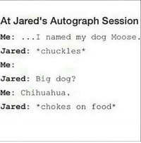Chihuahua, Food, and Memes: At Jared's Autograph Session  Me: I named my dog Moose  Jared: *chuckles*  Me:  Jared: Big dog?  Me: Chihuahua.  Jared: *chokes on food supernatural spn spnfamily castiel mishacollins cockles destiel deanwinchester samwinchester marksheppard crowley jensenackles jaredpadalecki winchester sabriel twistandshout osricchau superwholock bobbysinger teamfreewill fandom markpellegrino impala casifer alwayskeepfighting akf tumblr robbenedict chuckshurley spncast