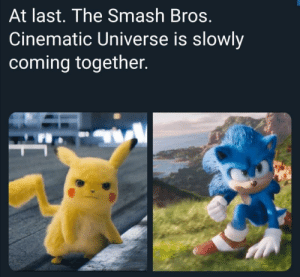 Who else thinks this would be cool by GamersBayCayman MORE MEMES: At last. The Smash Bros.  Cinematic Universe is slowly  coming together. Who else thinks this would be cool by GamersBayCayman MORE MEMES