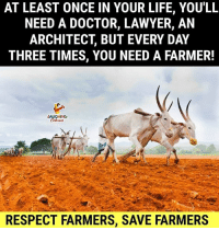 Doctor, Lawyer, and Life: AT LEAST ONCE IN YOUR LIFE, YOU'LL  NEED A DOCTOR, LAWYER, AN  ARCHITECT, BUT EVERY DAY  THREE TIMES, YOU NEED A FARMER!  LAUGHING  Tu  RESPECT FARMERS, SAVE FARMERS