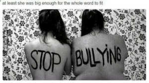 Word, Fit, and Big: at least she was big enough for the whole word to fit Stop the bullying!