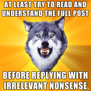Some people…: AT LEAST TRY TO READ AND  UNDERSTAND THE FULL POST  BEFORE REPLYING WITH  IRRELEVANT NONSENSE Some people…