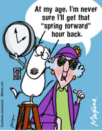 "At my age, l'm never  sure I'll get that  ""Spring forward""  hour back. At my age, I'm never sure I'll get that ""spring forward"" hour back."