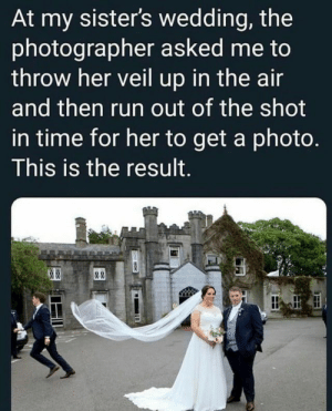 "Fail, Lol, and Memes: At my sister's wedding, the  photographer asked me to  throw her veil up in the air  and then run out of the shot  in time for her to get a photo.  This is the result.  & ""You can't blame people for trying."" Actually, you can, and it's fun! #attempts #fail #lol #memes"
