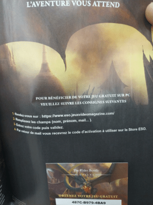 At super U, in France (super market) there is a revue, not packaged, with a code for the elder scrolls online. But any one can take the code without buying it.(and no, I already scan it): At super U, in France (super market) there is a revue, not packaged, with a code for the elder scrolls online. But any one can take the code without buying it.(and no, I already scan it)