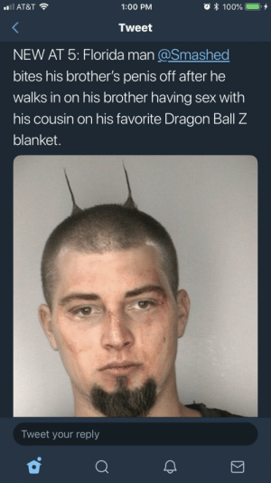 ohmrdarcy: : AT&T  1:00 PM  100% iii), +  Tweet  NEW AT 5: Florida man @Smashed  bites his brother's penis off after he  walks in on his brother having sex with  his cousin on his favorite Dragon Ball Z  blanket.  Tweet your reply ohmrdarcy: