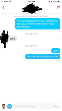 Bad, Gif, and Puns: AT&T  1:05 PM  YOU MATCHED WITH SUMMER ON 8/30/18  What percentage of your matches for  the past 3 months have been bad  name puns?  Today 12:33 PM  99.9  Today 12:57 PM  Wow  Sounds like a tough summer  Sent  GIF  Type a message  Send Fell right into the trap.