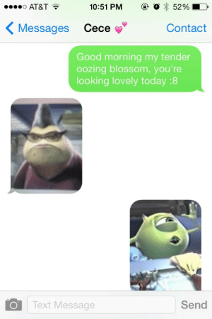 alexchurner:  this is how my girlfriend and I text : AT&T  10:51 PM  @. O * 52 %  KMessages Cece  Contact  Good morning my tender  oozing blossom, you're  looking lovely today :8  Text Message  Send alexchurner:  this is how my girlfriend and I text