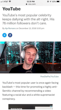 youtube.com, At&t, and Time: AT&T  12:31 PM  voX.com  YouTube  YouTube's most popular celebrity  keeps dallying with the alt-right. His  76 million followers don't care  By Aja Romano on December 13, 2018 3:00 pm  PewDiePie/YouTube  Youlube's most popular user is once again facing  backlash - this time for promoting a highly anti-  Semitic channel by recommending a video  featuring a racial slur and a white supremacist  conspiracy