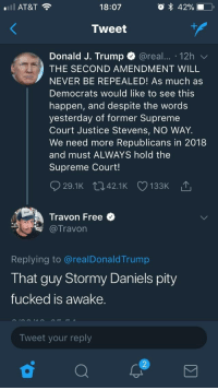 <p>My kind of twitter alert 🚨 (via /r/BlackPeopleTwitter)</p>: AT&T  18:07  Tweet  Donald J. Trump @real. 12h  THE SECOND AMENDMENT WILL  NEVER BE REPEALED! As much as  Democrats would like to see this  happen, and despite the words  yesterday of former Supreme  Court Justice Stevens, NO WAY.  We need more Republicans in 2018  and must ALWAYS hold the  Supreme Court!  Travon Free  专@Travon  Replying to @realDonaldTrump  That guy Stormy Daniels pity  fucked is awake.  Tweet your reply  2 <p>My kind of twitter alert 🚨 (via /r/BlackPeopleTwitter)</p>