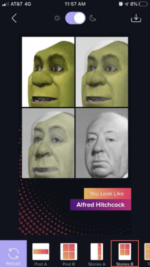 At&t, Alfred Hitchcock, and Hitchcock: AT&T 4G  11:57 AM  8%0  You Look Like  Alfred Hitchcock  Reload  Post B  Post A  Stories A  Stories B Hmmmmmm