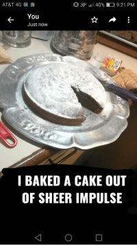 Baked, At&t, and Cake: AT&T 4G ao  0  .11 40% D 9:21 PM  You  Just now  I BAKED A CAKE OUT  OF SHEER IMPULSE