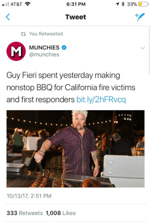 Fire, Guy Fieri, and Love: AT&T  6:31 PM  Tweet  t You Retweeted  MUNCHİES  @munchies  Guy Fieri spent yesterday making  nonstop BBQ for California fire victims  and first responders bit.ly/2hFRvcq  10/13/17, 2:51 PM  333 Retweets 1,008 Likes ruffboijuliaburnsides:  teamsladsandgents: Say what you want about Guy Fieri, but he has a golden heart  I cannot stand his look or his voice but hot damn I love his style.