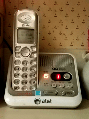 Here's to everyone who had to endure the wonderful ring of land-lines while visiting family this holiday season :): at&t  HOSET 1  NEW TESSAGE  DIR  REDIAL  MENU  PAUSE  GFI FGT  VOLUME  PHONE  OFF  CLFAR  FI ASH  CID  1.  3.  DEF  ABC 2  DIGITA  ANSWERING  SYSTEM  6  GHI4  MNO  JKL 5  PLAY/STOP  ANSWER  ON/OFF  6.  WXYZ  TUV 8  PORS  TUV  #:  REPEAT  DELETE  SKIP  TONE  OPER  IN USE  INT  MUTE  HANDSET  LOCATOR  VOLUME  at&t  %23 Here's to everyone who had to endure the wonderful ring of land-lines while visiting family this holiday season :)