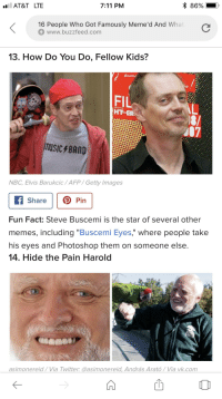"steve buscemi eyes: AT&T LTE  7:11 PM  16 People Who Got Famously Meme'd And What  www.buzzfeed.com  13. How Do You Do, Fellow Kids?  FIL  HTER  07  music BAMD  NBC, Elvis Barukcic/AFP/Getty Images  Share Pin  Fun Fact: Steve Buscemi is the star of several other  memes, including ""Buscemi Eyes,"" where people take  nis eyes and Photoshop them on someone else  14. Hide the Pain Harold  asimonereid/Via Twitter: @asimonereid, András Arató/Via vk.com"