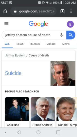 Google is a lie (proof⬇): AT&T O  all 100%  10:26 AM  google.com/search?cli  Google  jeffrey epstein cause of death  VIDEOS  ALL  NEWS  IMAGES  MAPS  Jeffrey Epstein / Cause of death  Suicide  PEOPLE ALSO SEARCH FOR  Donald Trump  Prince Andrew,  Ghislaine  ш Google is a lie (proof⬇)