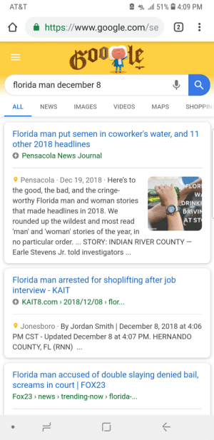 At-St, Bad, and Florida Man: AT&T  *SE .111 51 %  4:09 PM  https://www.google.com/se:  florida man december 8  ALL  NEWS  IMAGES  VIDEOS  MAPS  SHOPPIN  Florida man put semen in coworker's water, and 1  other 2018 headlines  Pensacola News Journal  Pensacola Dec 19, 2018 Here's to  the good, the bad, and the cringe  worthy Florida man and woman stories  that made headlines in 2018, We  rounded up the wildest and most read  man' and 'woman' stories of the year, in  no particular order. STORY: INDIAN RIVER COUNTY  Earle Stevens Jr. told investigators  FLOR  DRINK  DRIVI  AT ST  Florida man arrested for shoplifting after job  interview-KAIT  O KAIT8.com 〉 2018/12/08 〉 flor..  9 Jonesboro By Jordan Smith   December 8, 2018 at 4:06  PM CST - Updated December 8 at 4:07 PM. HERNANDO  COUNTY, FL (RNN)  Florida man accused of double slaying denied ball,  screams in court   FOX23  Fox23 news trending-now > florida- I figured it would have something to do with the Navy...