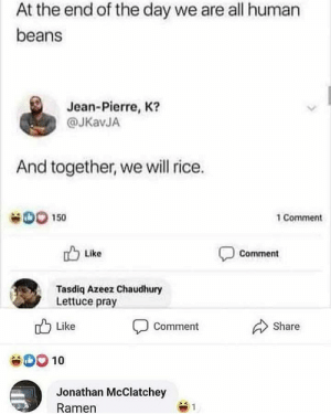 In pizzas name by basti_redhead MORE MEMES: At the end of the day we are all human  beans  Jean-Pierre, K?  @JKavJA  And together, we will rice.  D0 150  1 Comment  Like  Comment  Tasdiq Azeez Chaudhury  Lettuce pray  Like  Share  Comment  SOO10  Jonathan McClatchey  Ramen  1 In pizzas name by basti_redhead MORE MEMES